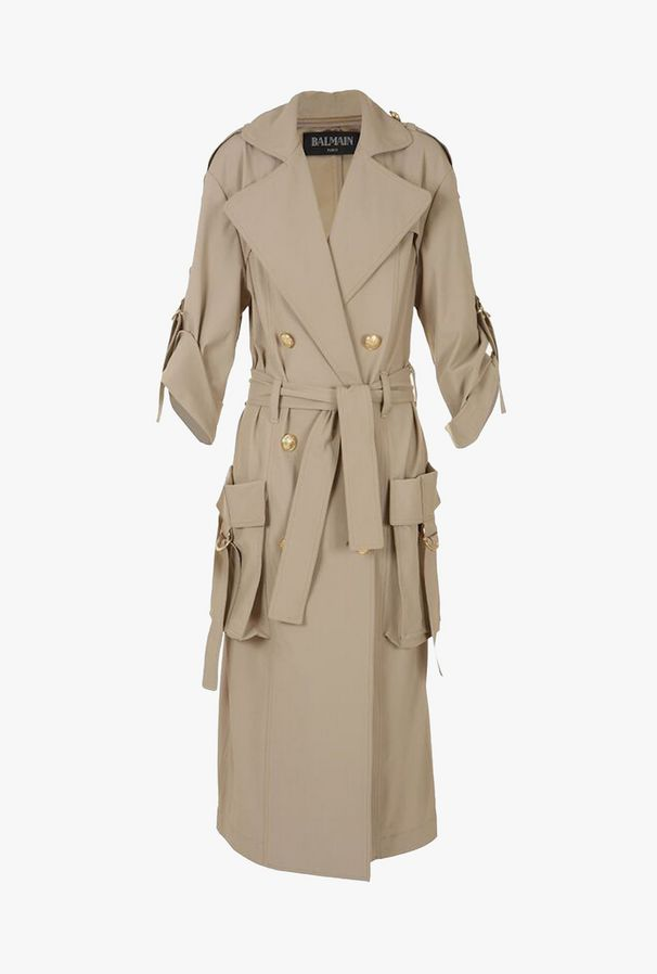 Long trench coat with cargo pockets $ 3,395.00, COLOR: Beige