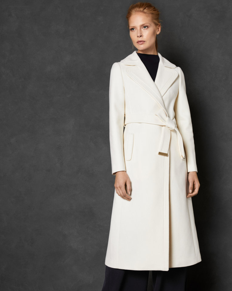 Right now on the  Hourglass page : GABELLA Wide collar long wool wrap coat. Ted Baker. $679.
