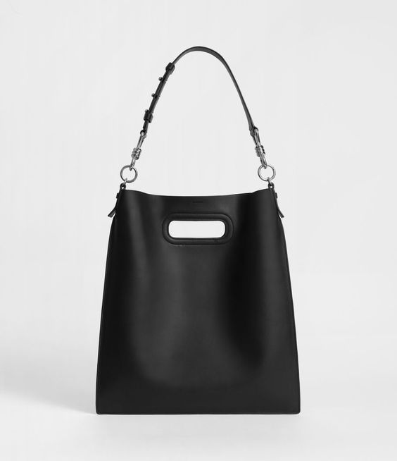 Right now on the  Edgy page : All Saints Captain Leather Flat Hobo Bag. $298.