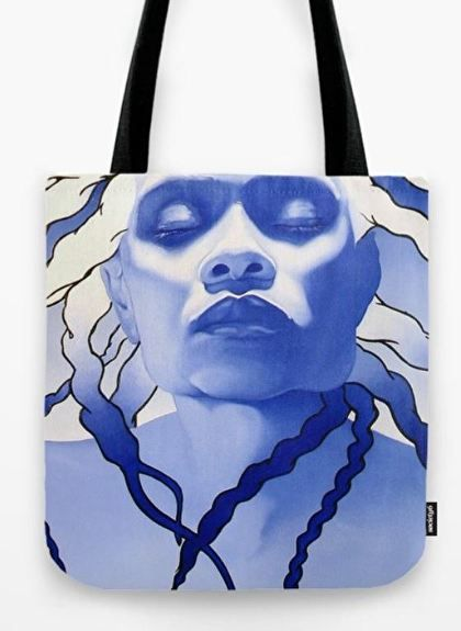 "The ""Blue Key"" Canvas Tote bag. Available in three different sizes: Small 13x13 - $25, Medium 16x16 - $30 and Large 18x18 - $35. Painting is of George's wife, Nakeesa. Prices listed do not include shipping and handling."