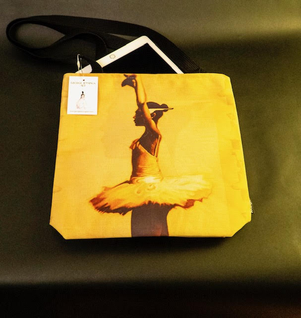 "The ""Ballerina"" tote being used as an iPad case."
