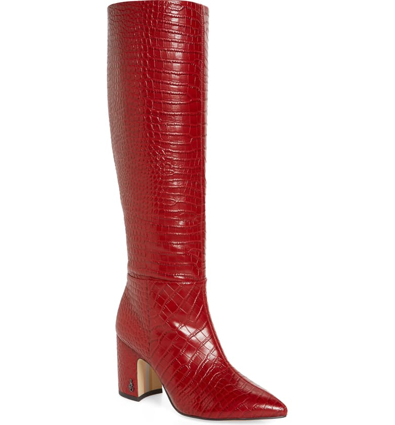 Of course, these knee high boots come in more subdued colors, but if the red speaks to you, don't pass them up. A red boot can transform any outfit. Trust me. I have three pair.