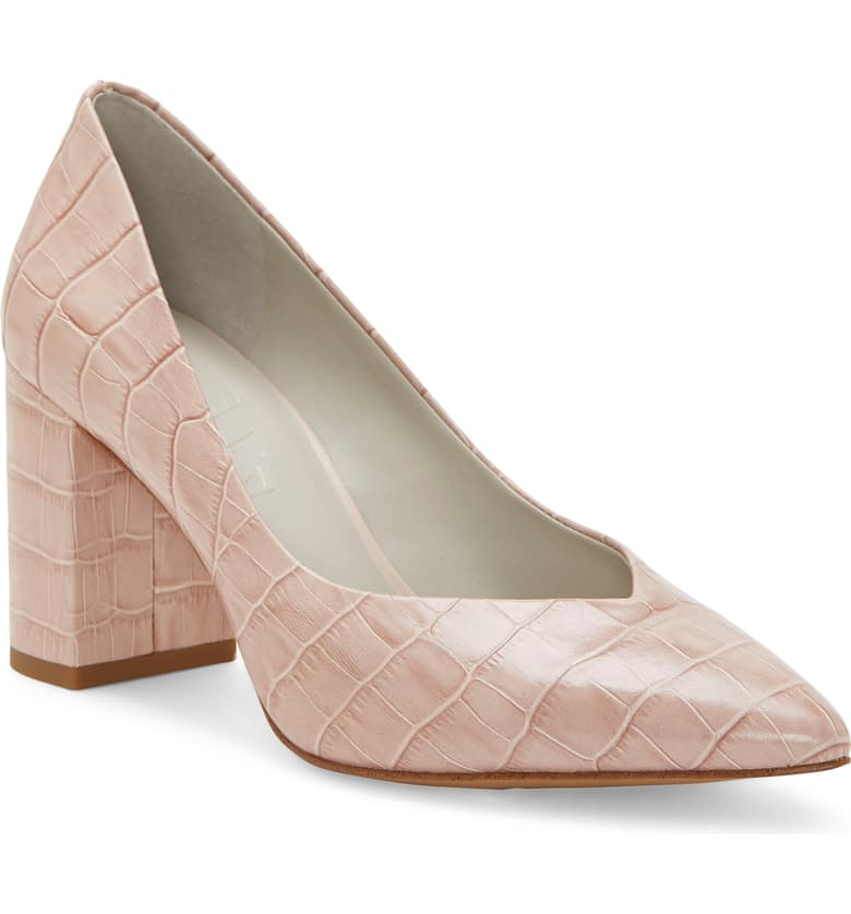 A neutral heel that is going to capture your heart. This rose alligator heel is sure to be a go-to.