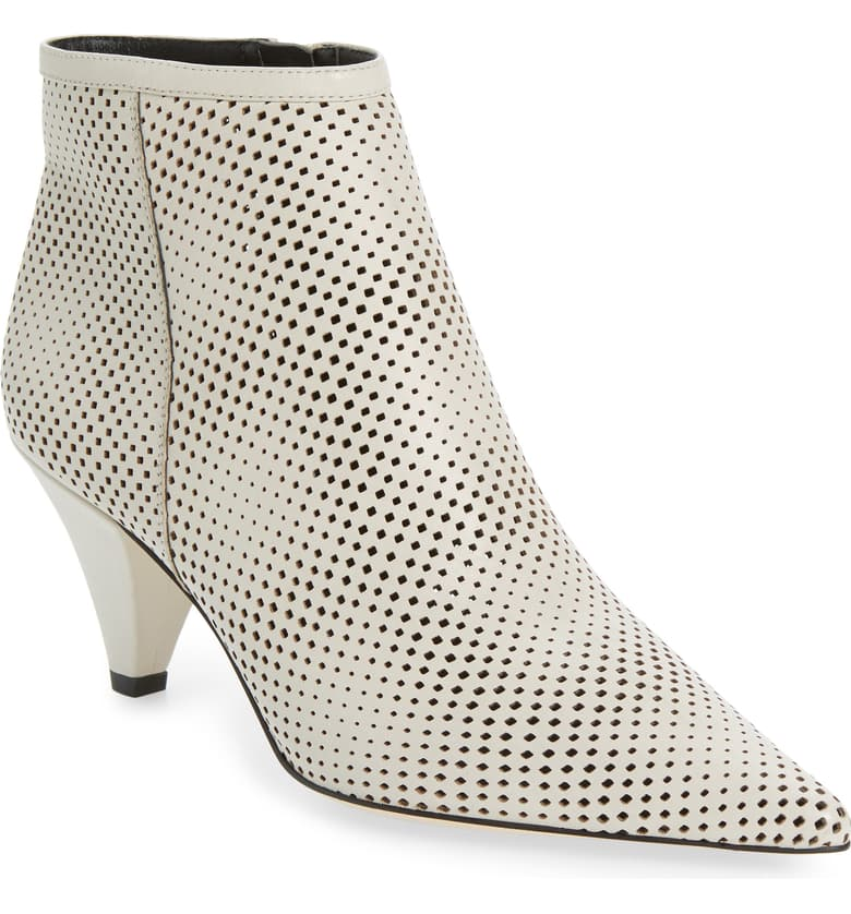 I love a great perforated bootie. This one is available in multiple colors but I'm especially fond of white. Don't worry. A magic eraser will help you keep them clean.