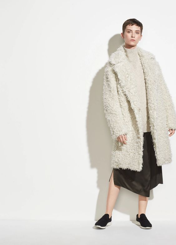 Vince Shaggy Coat in Porcelain. Rent it instead of buying at Vince Unfold.