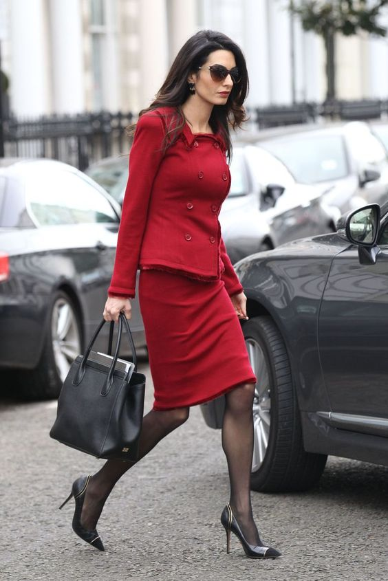 Lawyer Amal Clooney off to work in her heels