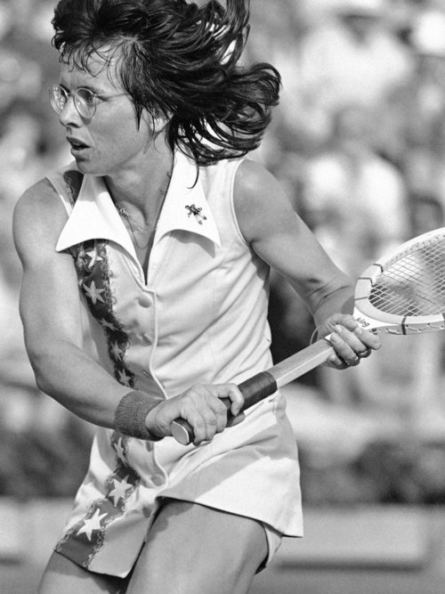Billie Jean King wins in straight sets against Bobby Riggs in 1973's 'Battle of the Sexes'.