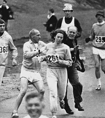In 1967 Kathy Switze became the first woman to run the Boston Marathon as a numbered entrant. During her run, race official Jock Semple attempted to stop her and grab her official bib; however, he was shoved to the ground by Switzer's boyfriend, Thomas Miller, who was running with her, and she completed the race. It was not until 1972 that women were allowed to run the Boston Marathon officially.