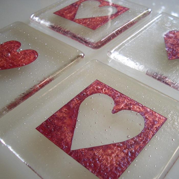 'Glass Copper Inclusion Heart Coasters'