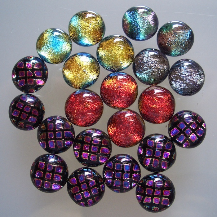 'Glass sterling silver dichroic earrings'