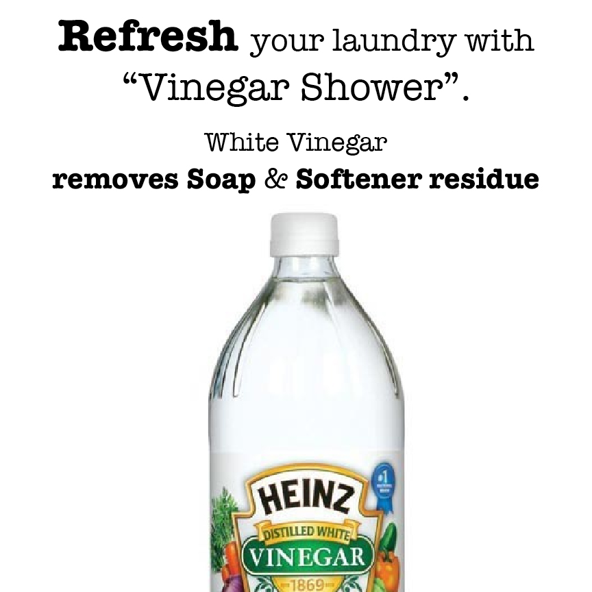 White Vinegar kills odor bacteria mold and germs, set colors and brightens whites. Is a natural clothing softener.
