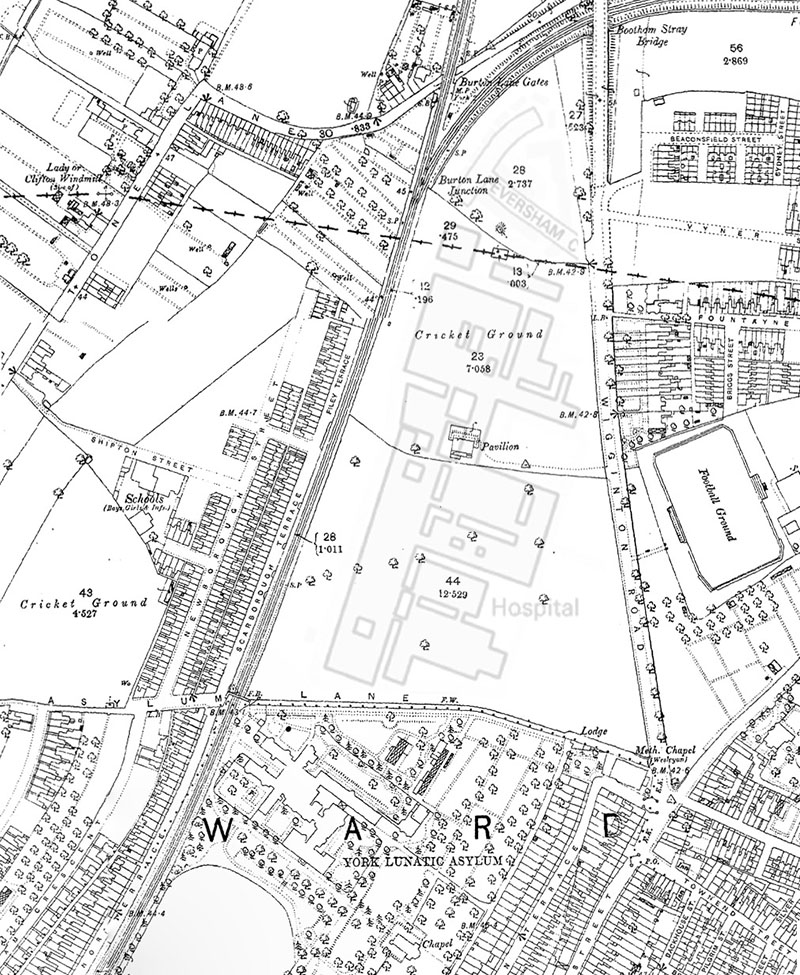 Map of Wigginton Road ground with outline of York District Hospital overlaid