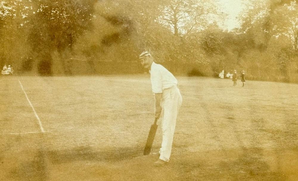 Charles W Landon practising at the Wiggington Road ground 1895