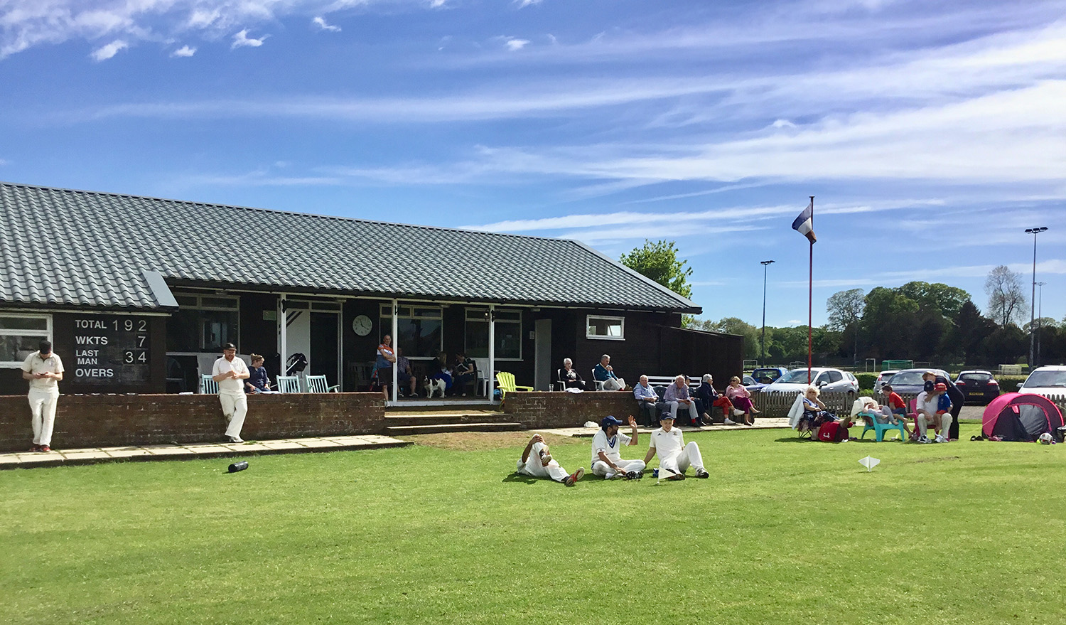 Escrick clubhouse at close of first innings