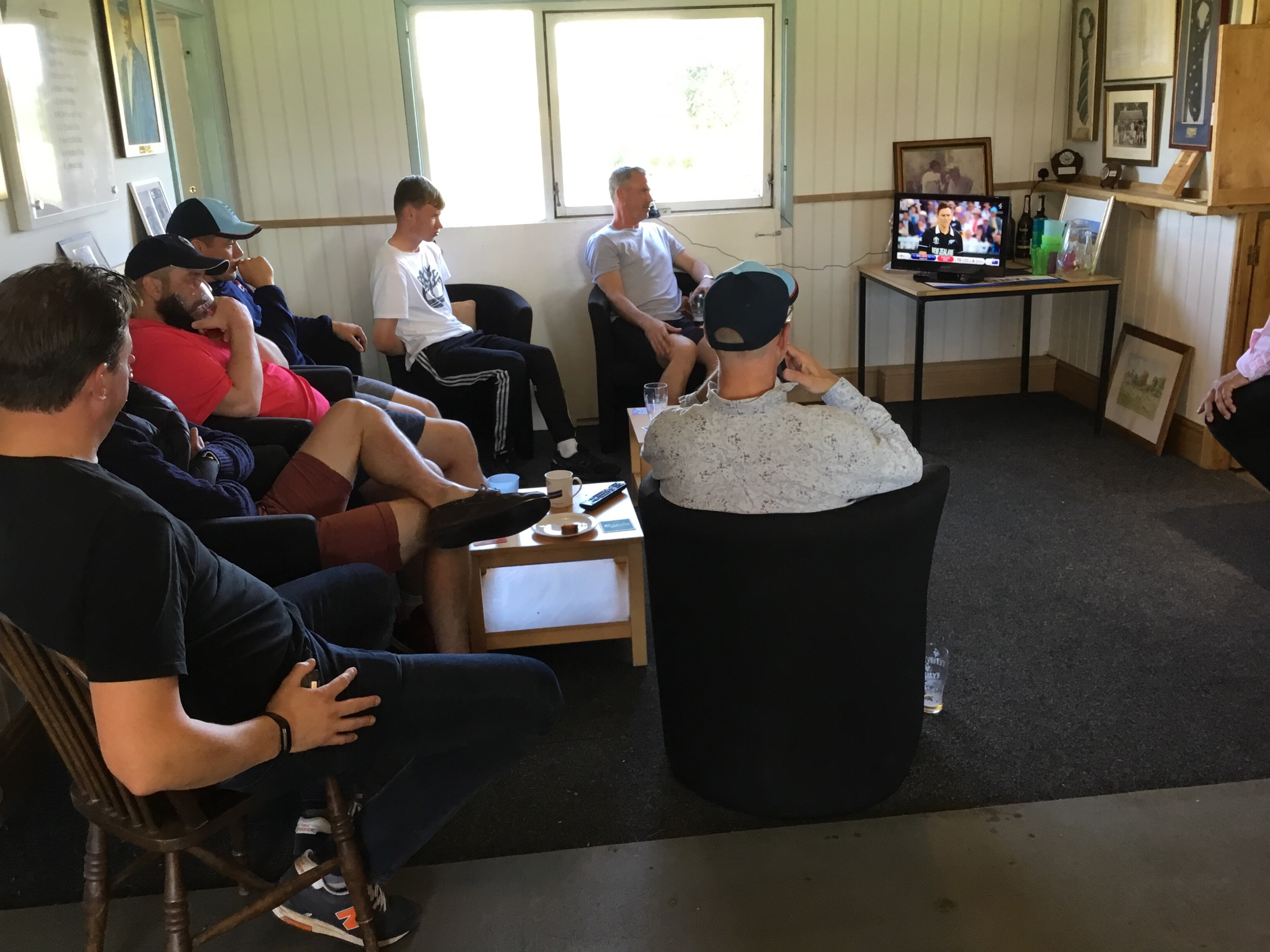 Tense moments in the Pavilion watching the Super Over after the victory against the Penguins.