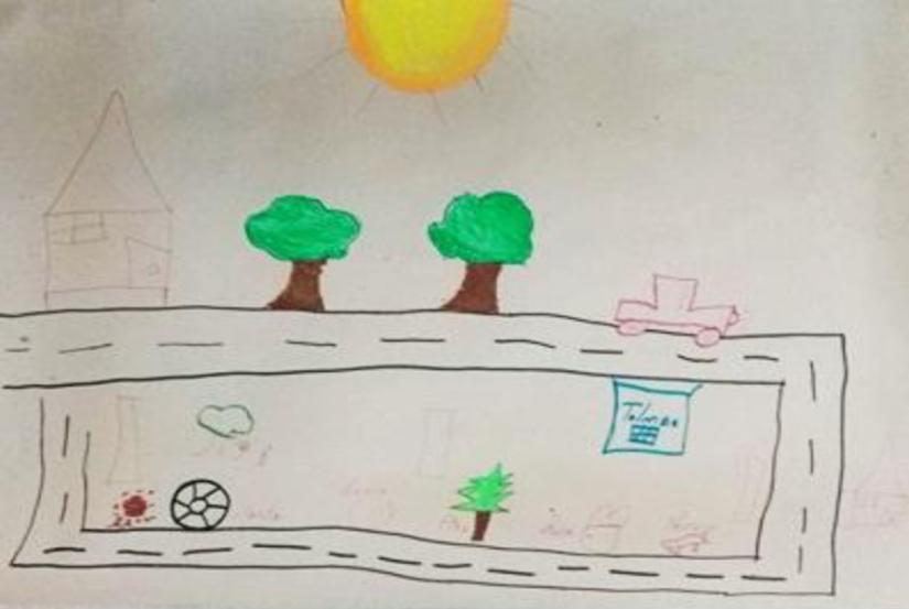 Mapa de la comunidad construido por los adolescentes después de realizar recorrido con vendas en los ojos.