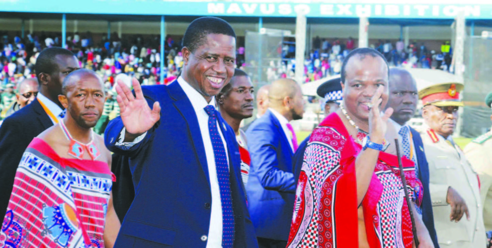 PRESIDENT-Lungu-with-King-Mswati-III-right-after-officially-opening-the-49th-Swaziland-International-Trade-Fair-at-Mavuso-Exhibition-990x499.jpg