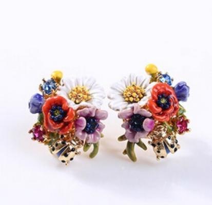 Caravanas flores les fleurs esmalte