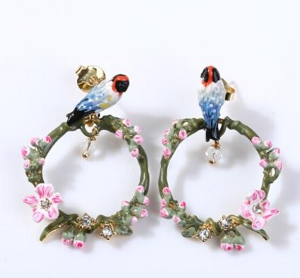 Caravanas les fleurs aros pájaros