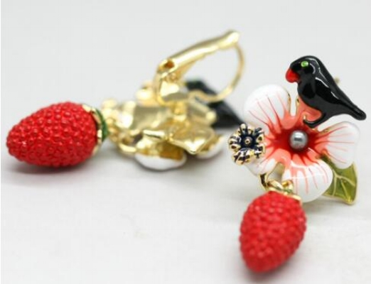Caravanas les fleurs pájaro frutilla
