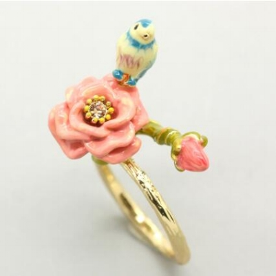 anillo les fleurs flor y pájaro