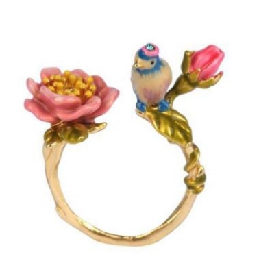 anillo les fleurs flores y pájaro