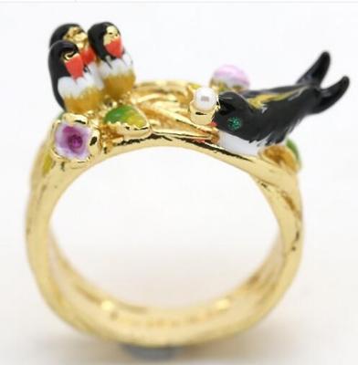 anillo pájaro nido les fleurs