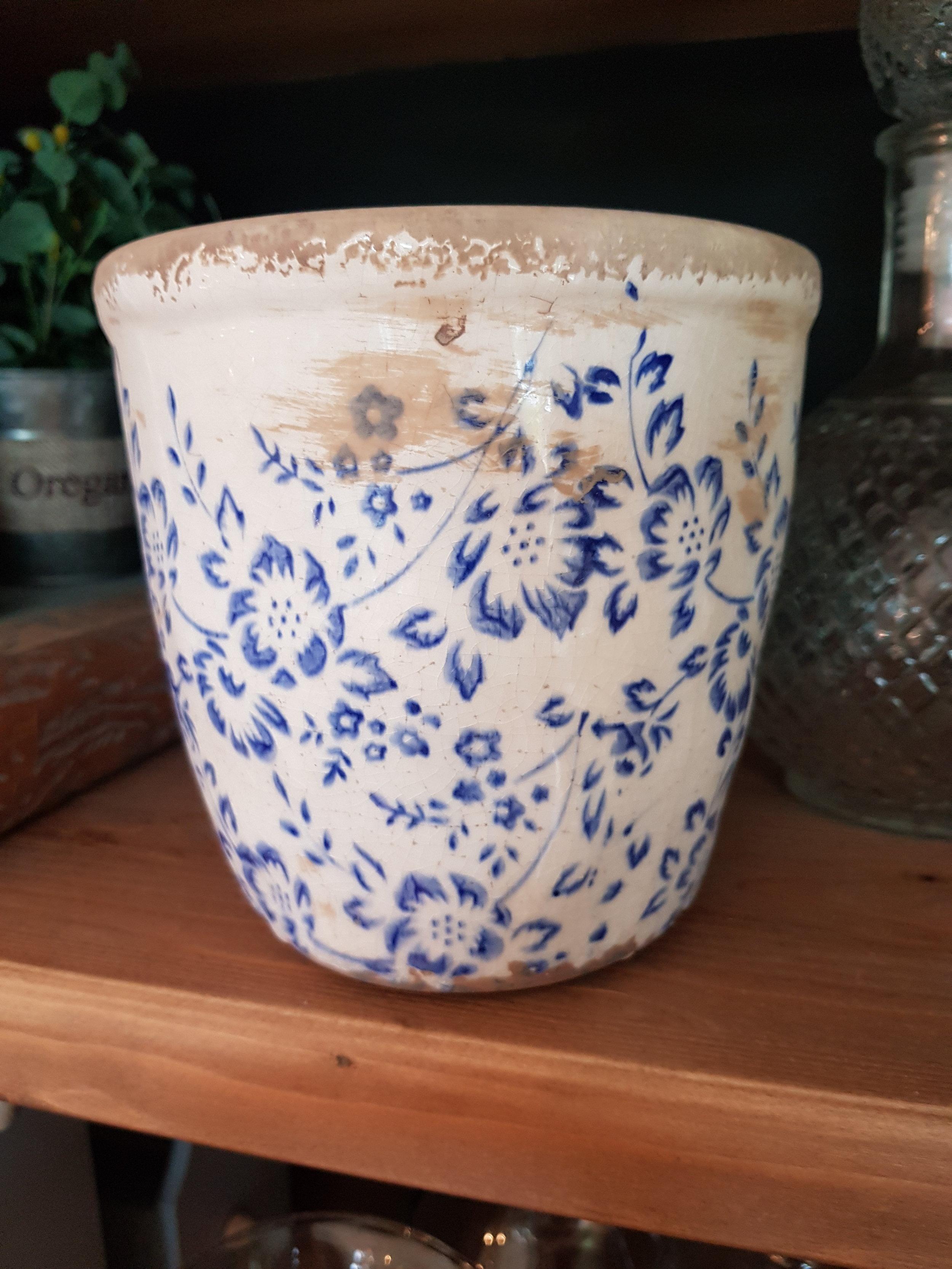 Florero Cerámica Flores Azul