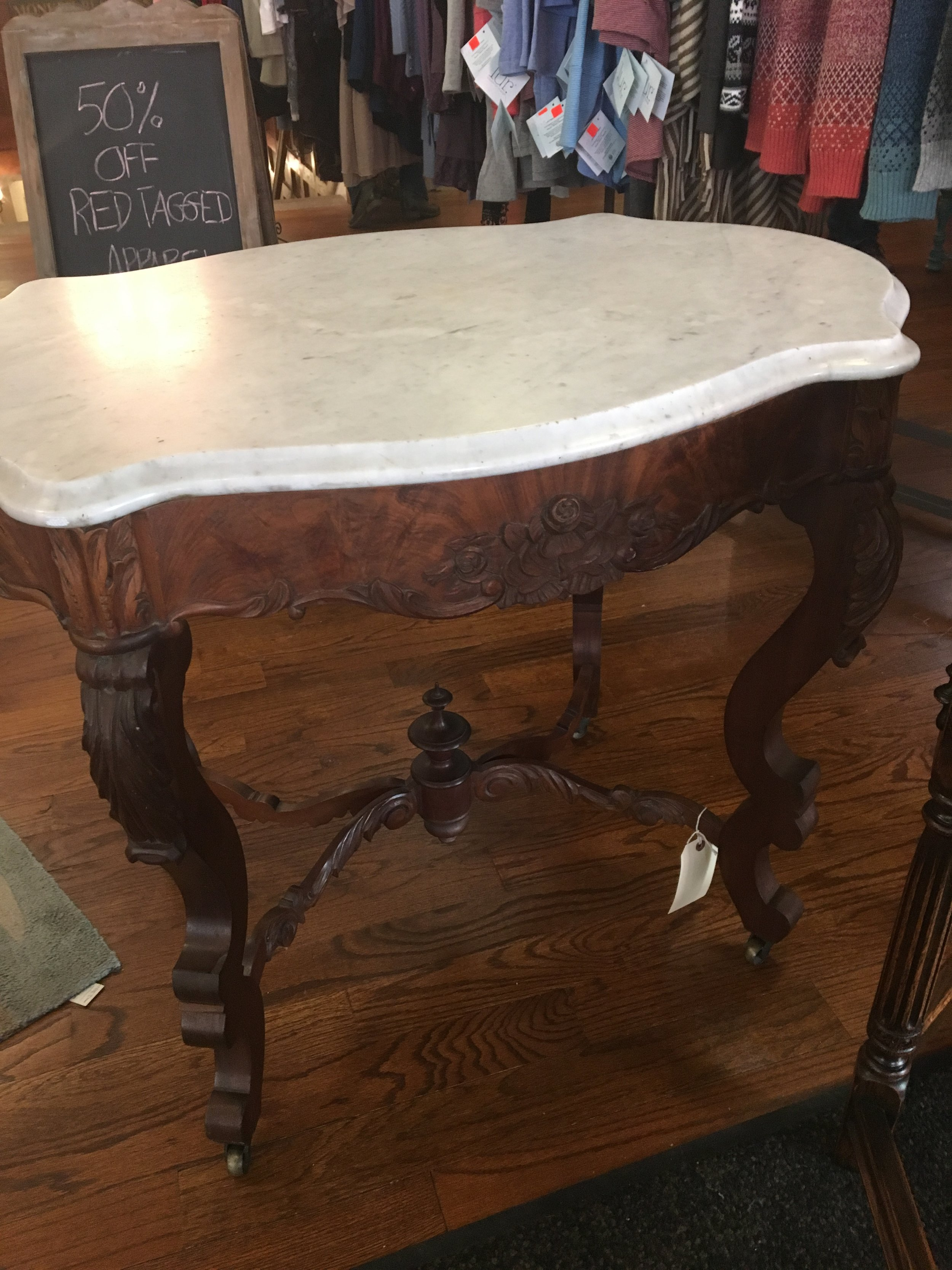 Victorian walnut occasional table with marble top.Pristine!.JPG