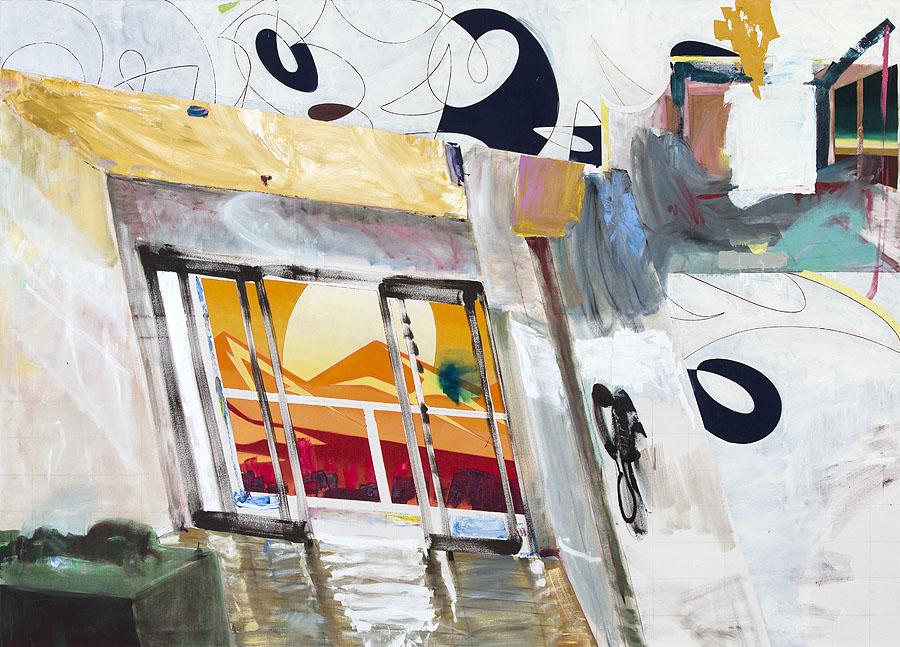 """Georg Frauenschuh, """"Intercom"""" 70 x 98 inches, oil on canvas, 2018"""