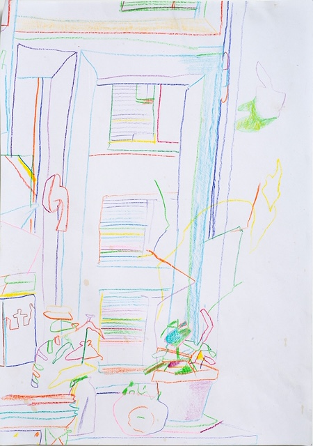 """Gerlind Zellner, """"Untitled,"""" colored pencil on paper, 12 x 9 inches, 2019"""