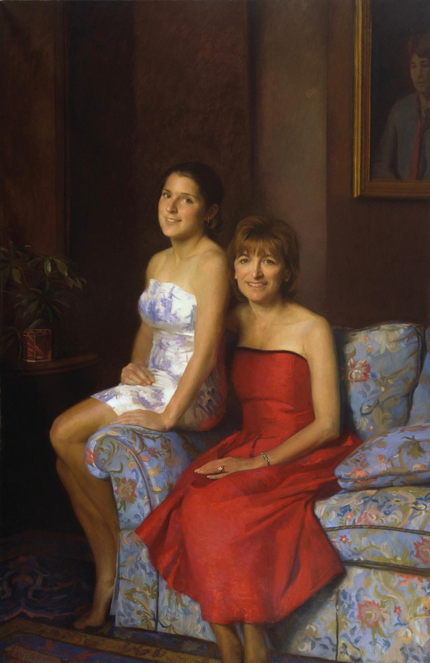 Oil Portrait of Mother & Daughter