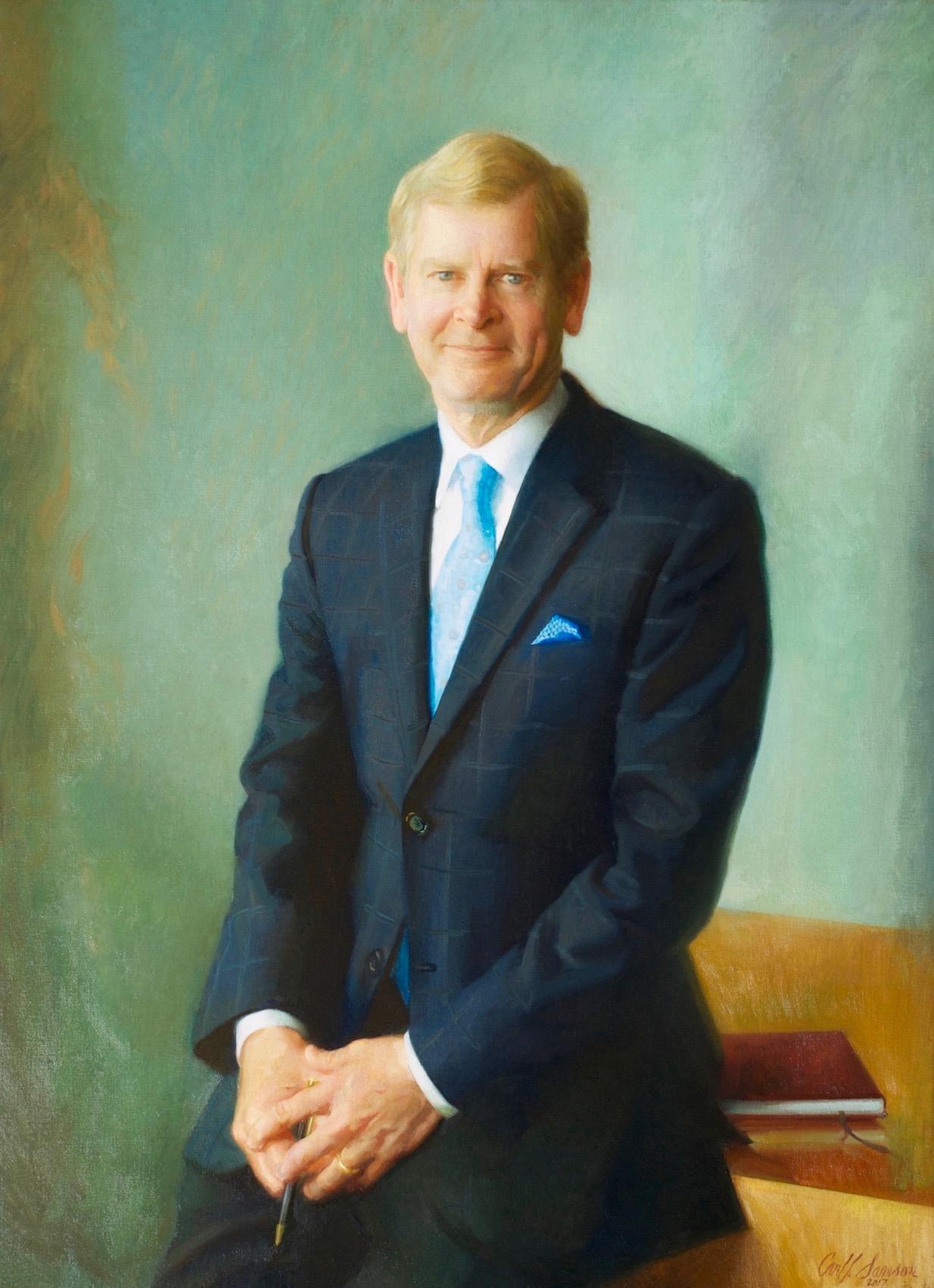 "Oil Portrait of David S. Taylor, CEO , 46"" x 34"", oil on linen canvas, Procter & Gamble collection"