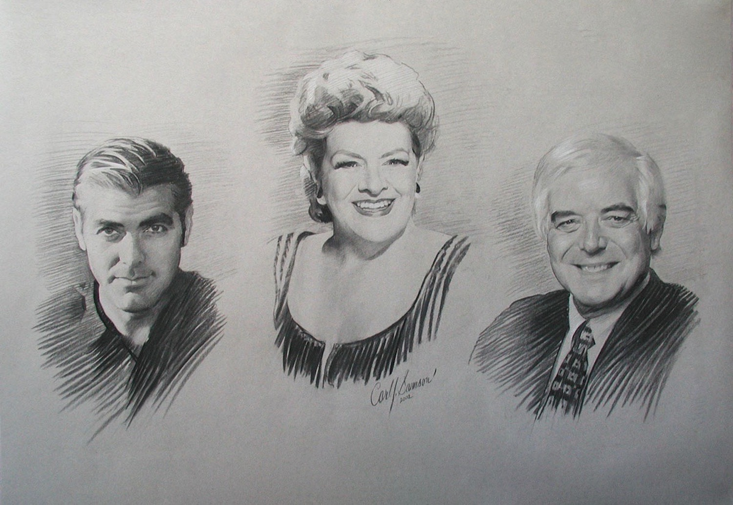 Charcoal and Chalk Group Portrait of George, Rosemary and Nick Clooney