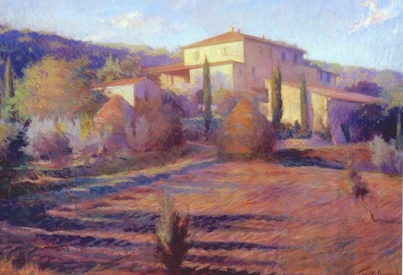 "Villa Collé Bereto, Radda , 25"" x 36"", oil on linen canvas, SOLD, private collection"
