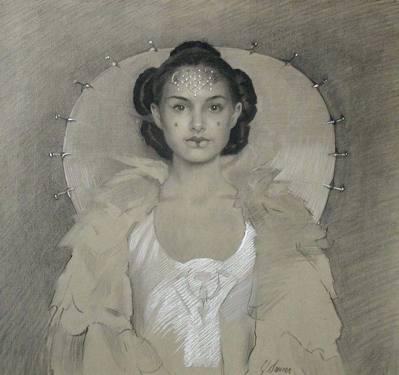 Charcoal & chalk portrait drawing