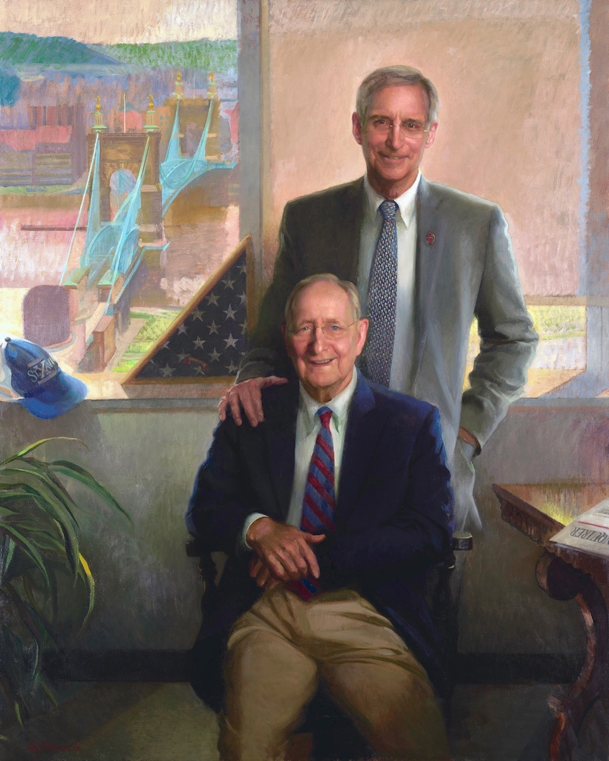 """William Keating Sr. & William Keating Jr., 72"""" x 45"""", oil on linen canvas, KMK Law collection"""