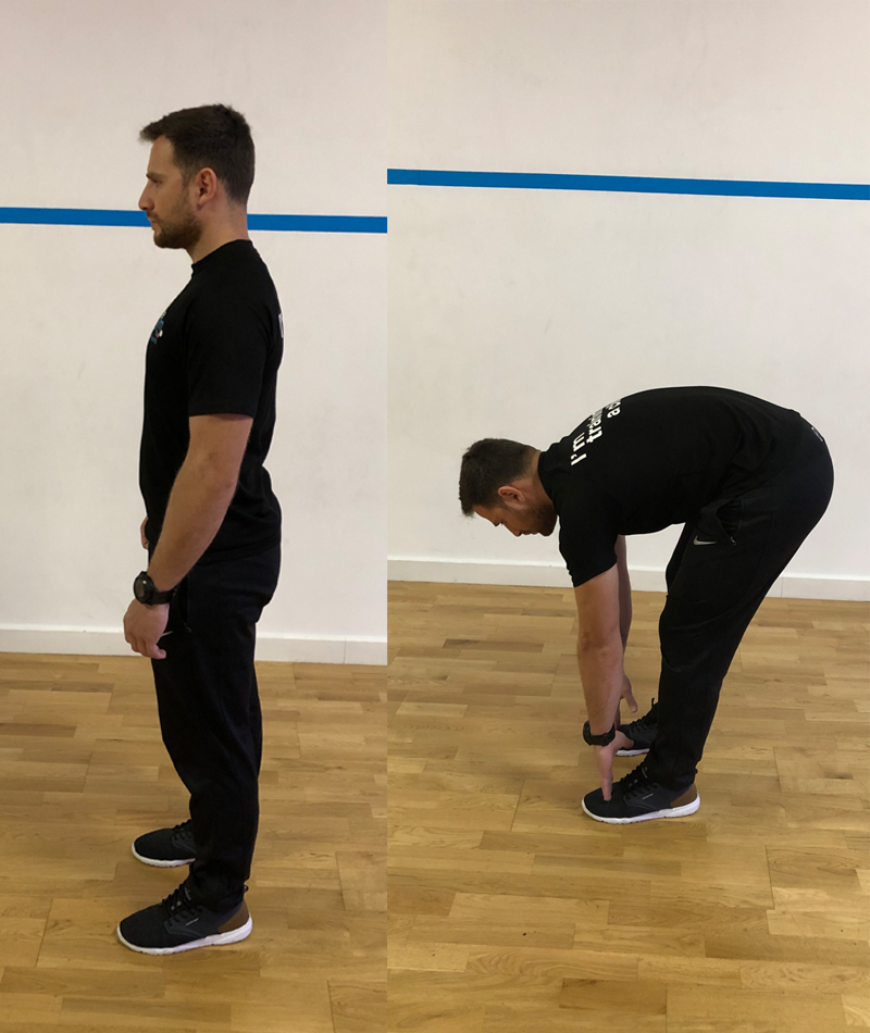 3. - Standing bend forward and reach the toes. You can slightly bend your knees but you should still feel the tension at the back of your legs (hamstrings). Do 10-15 repetitions
