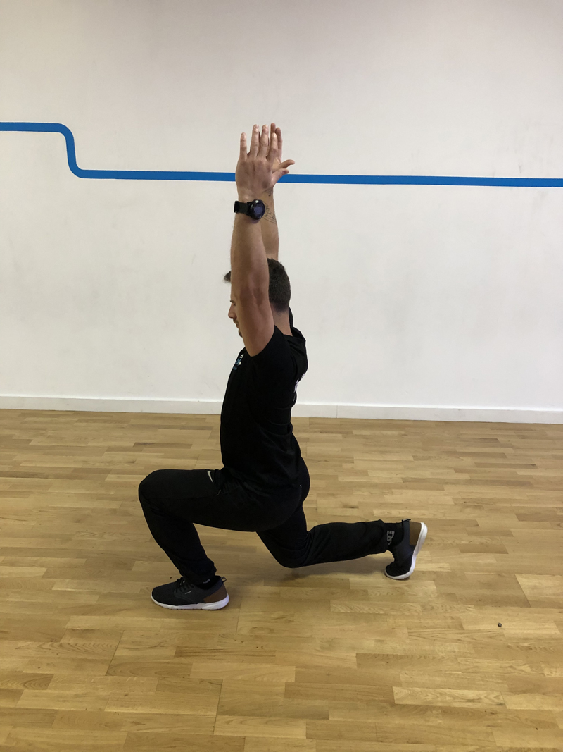 8. - Step forward and get in split squat position. Keep upright posture. Lift the arms above your head. Return to initial position and then repeat the same on the leg.