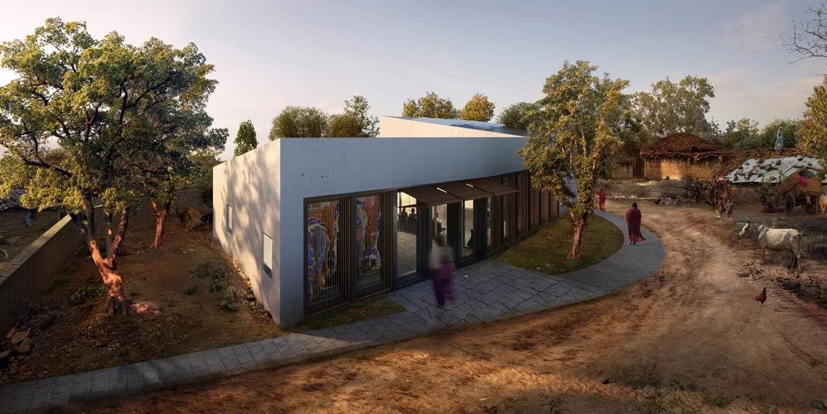 Rendering for the Optimize Health Clinic in Raghogarh, India by D4O