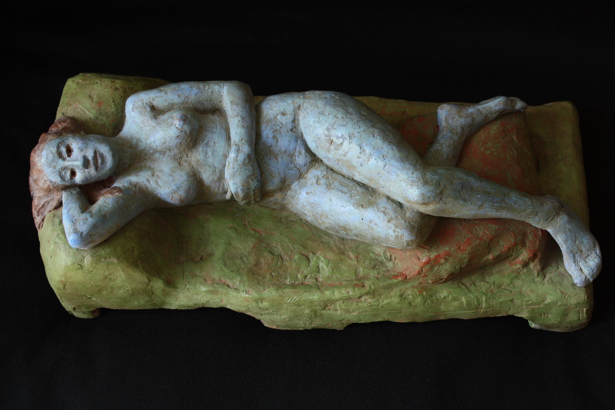 """Blue Mary Lou, Reclining"", terra cotta, 6.75""H x 18""W x 8""D, 2012"