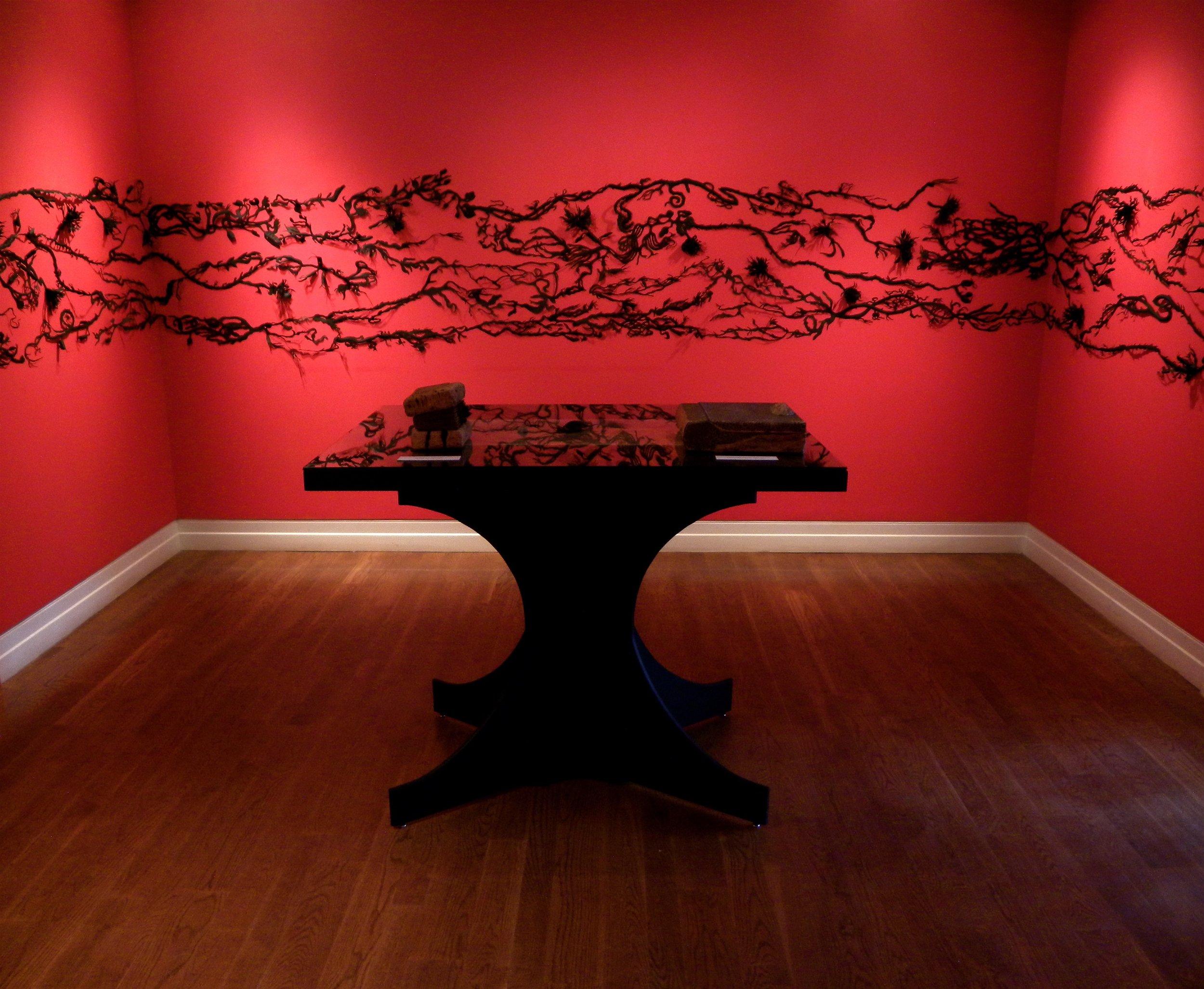 """Adrift"", cut and sculpted paper installation, 6'H x 12'W x 10""W, 2009"