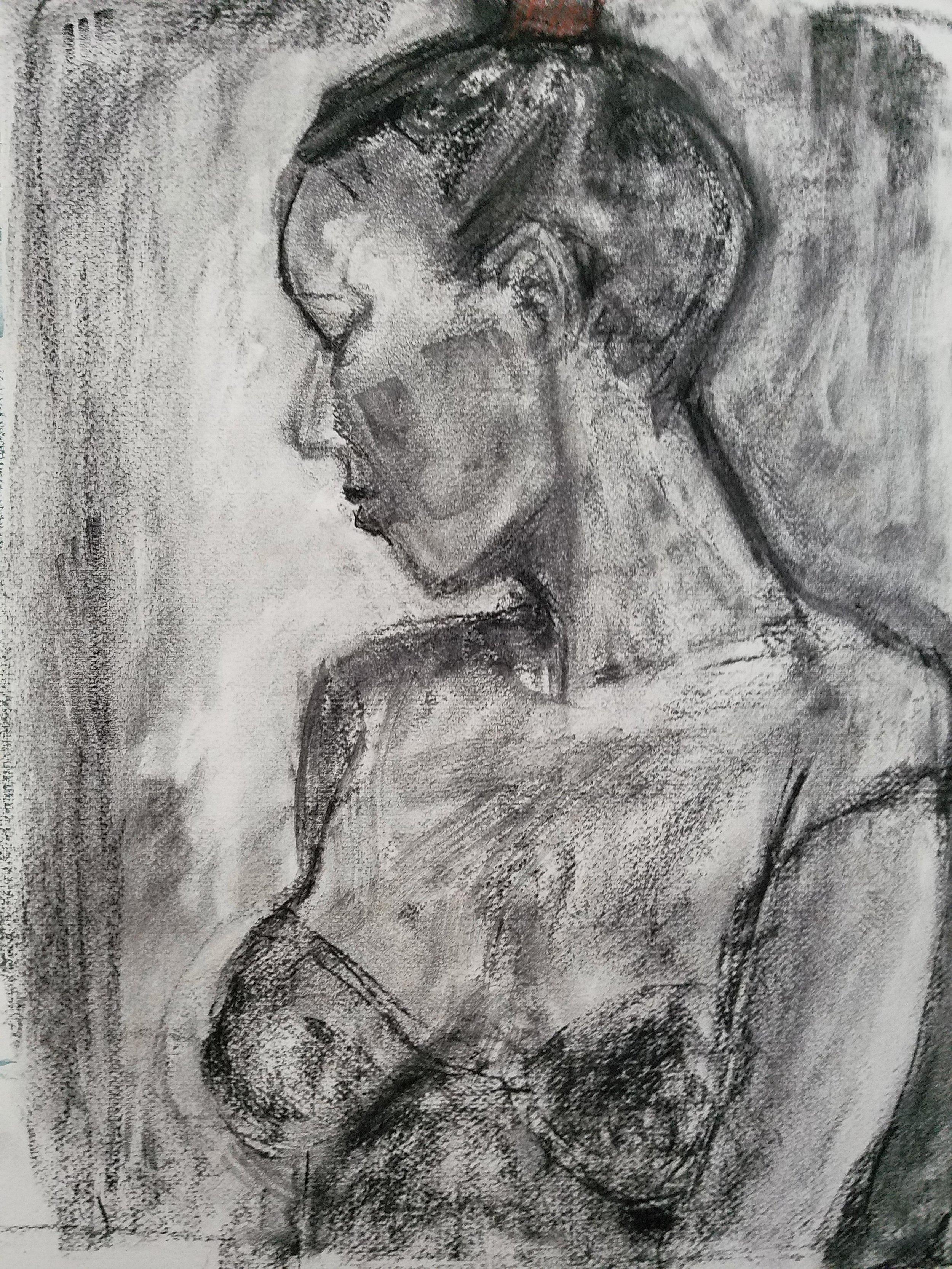 """""""Natasha"""", charcoal, 18""""H x 14""""W, 2017"""