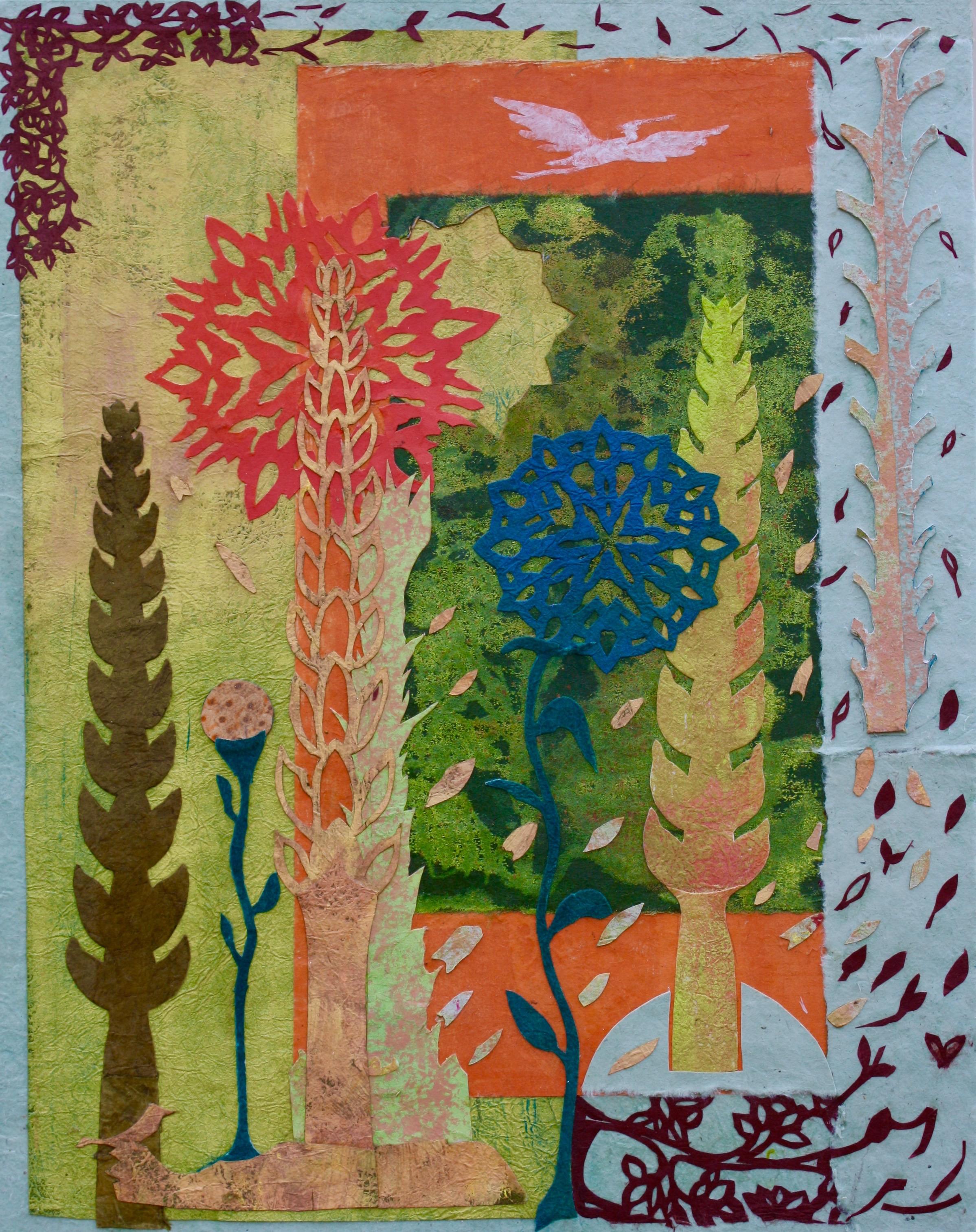"""Cross Pollination"", mixed medium on panel, 14""H x 11""W, 2016"