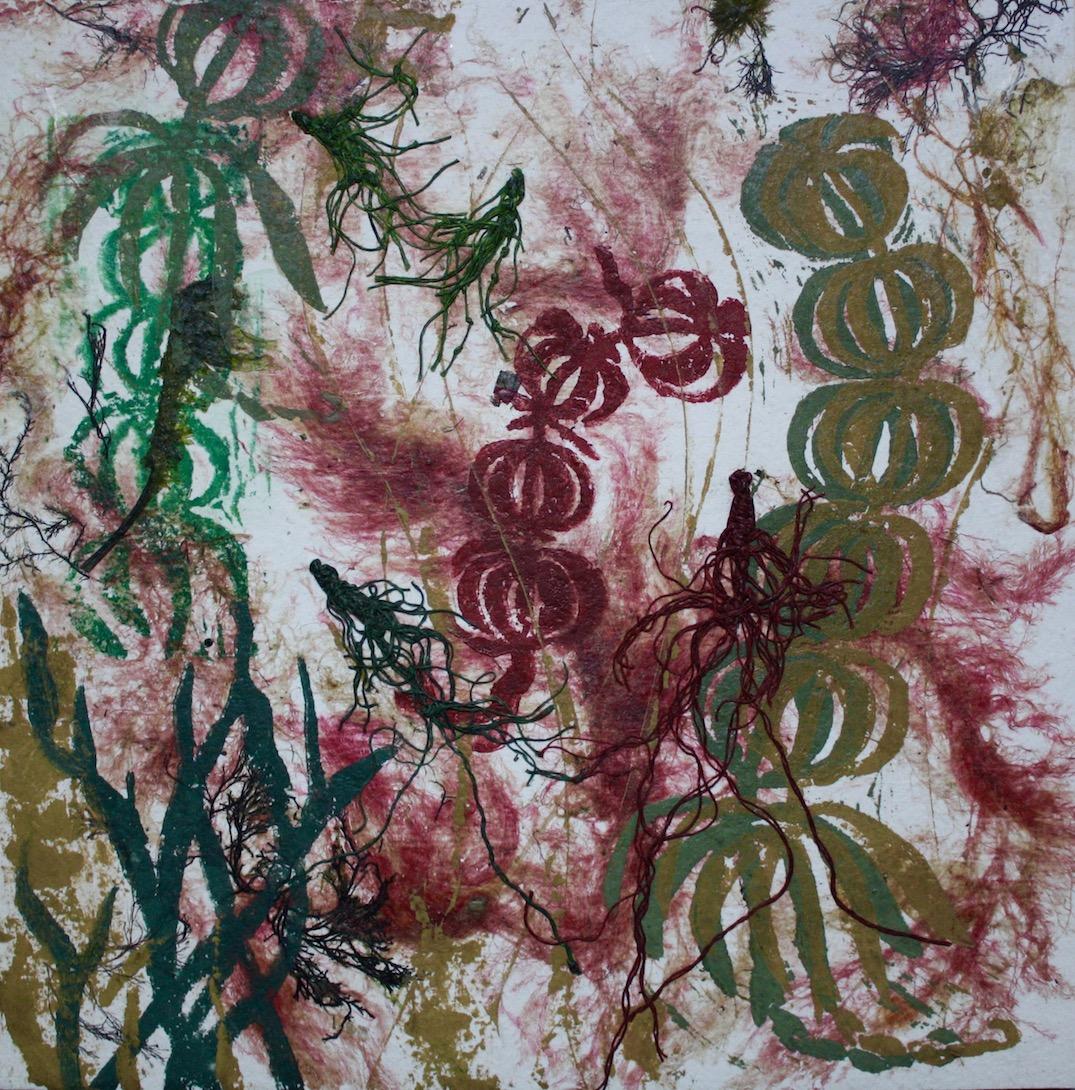 """Underwater World"" block print on seaweed paper, 8""H x 8""W, 2016"