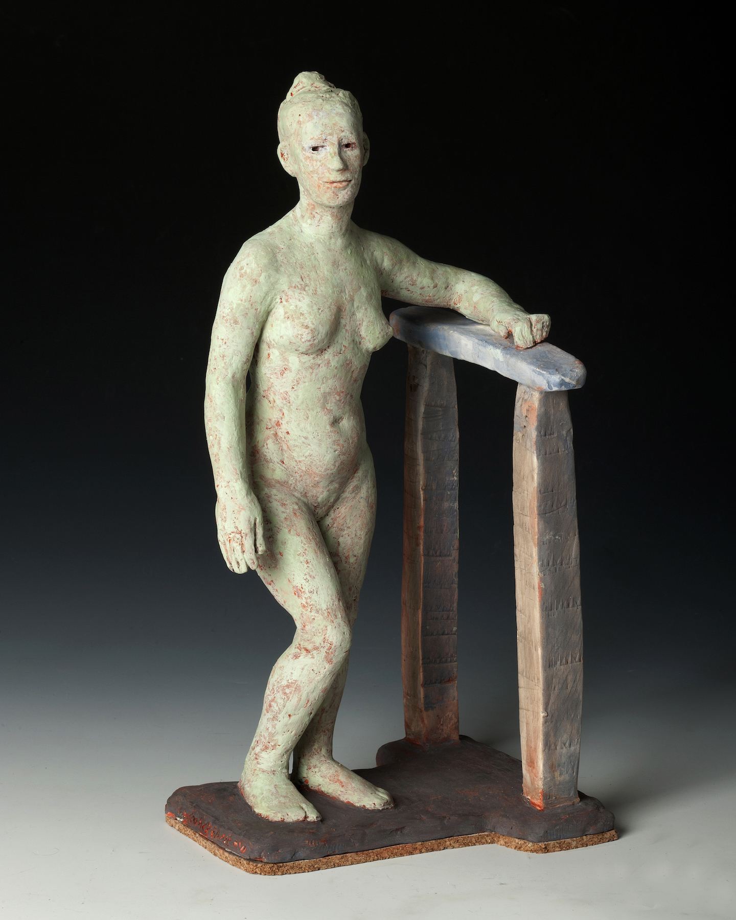 """Leaning on the Past"", polychromed terra cotta, 12""H x x 7""W x 5.5""D, 2013"