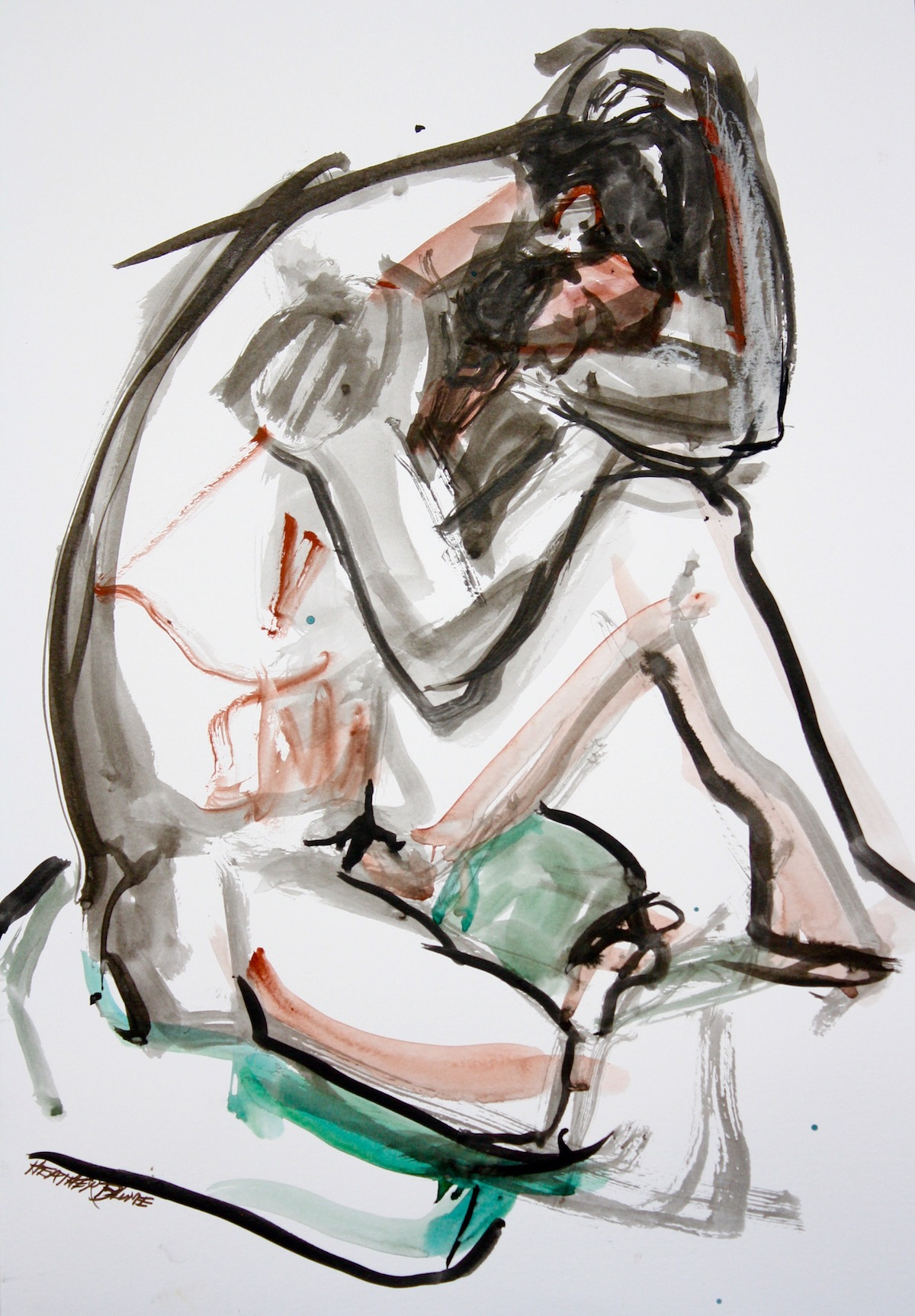 """""""Down-Hearted"""", gouache on rag paper, 18""""H x 16""""W, 17"""