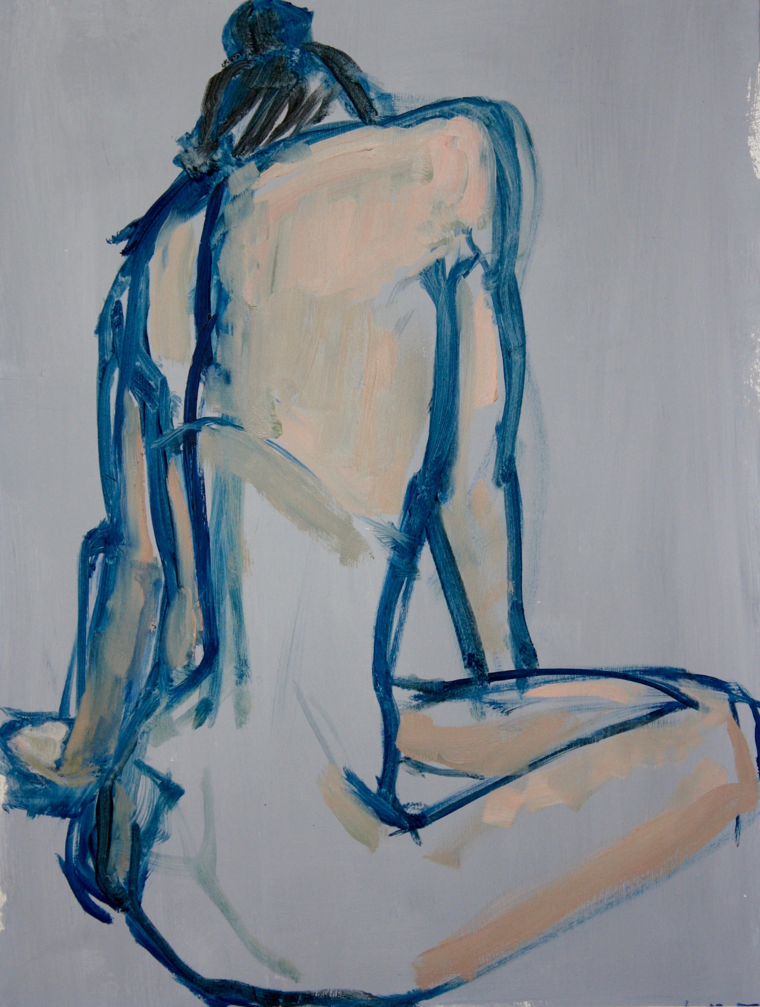 """""""Her Turn"""", oil on primed paper"""", 12""""H x 10""""W, 17"""