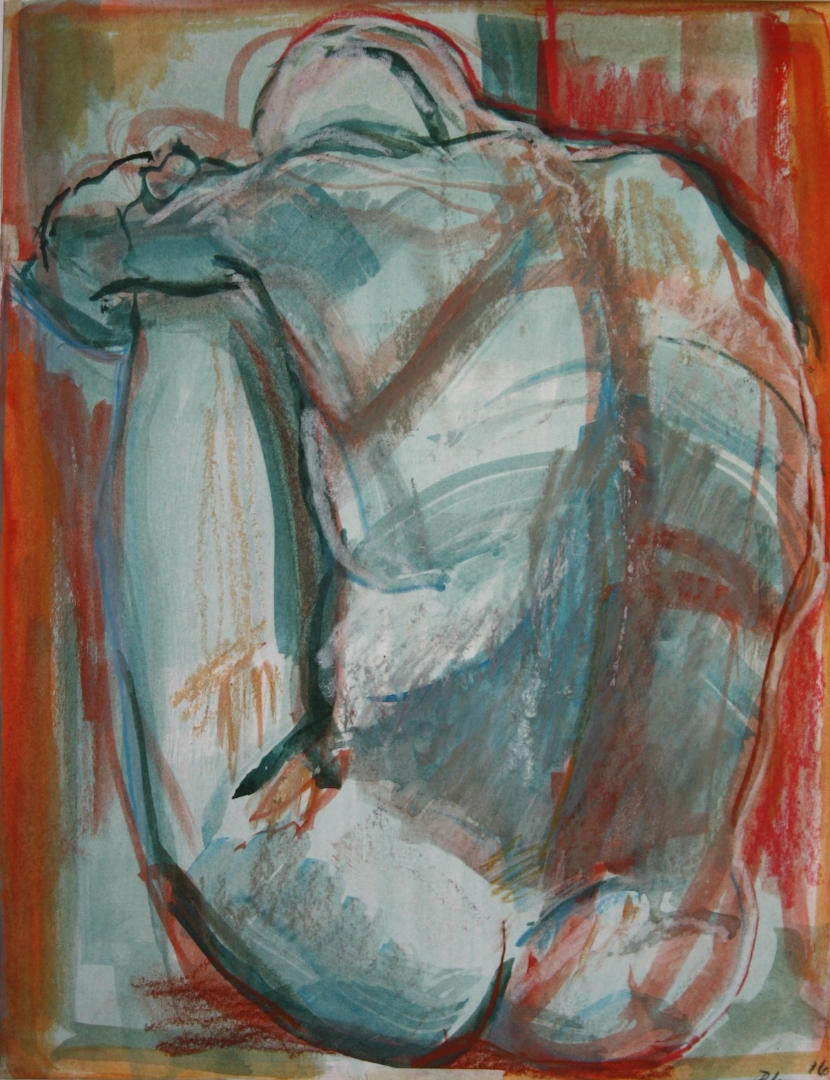 """""""Red, White, and Feeling Blue"""",gouache on hot press paper, 10""""H x 8""""W, 16"""