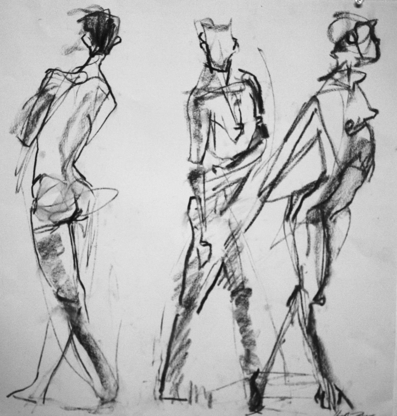 """Three Movements"". charcoal on rag paper, 18""H x 20""W, 2017"